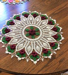 Crochet Doily Made to Order Flower Garden Pineapple Doily Lace Doilies, Crochet Doilies, Crochet Flowers, Crochet Tree, Hand Crochet, Handmade Angels, Rose Centerpieces, Bead Crochet Patterns, Pineapple Crochet