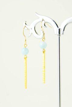 Gold Hammered Bar Earrings Aquamarine Stone Earrings Delicate