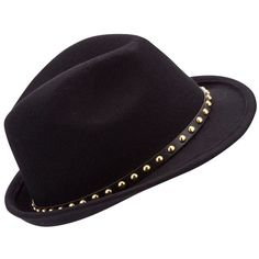 Black Stud Trilby Hat ($21) ❤ liked on Polyvore