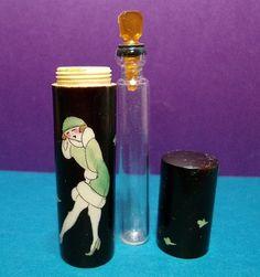 1920's Vintage French Flapper Lady Art Deco Bakelite Mini Purse Perfume Bottle | eBay