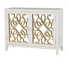Calli Mirrored Door Console Table in White/Gold
