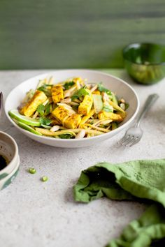 Green Mango & Curried Tofu Salad With Coconut Sugar- Ginger Dressing | Sinfully Spicy