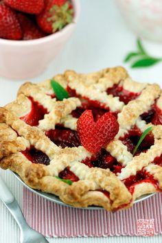"""I Heart Summer"" Strawberry Lemon Verbena Pie Recipe Pie Recipes, Dessert Recipes, Pudding Recipes, Recipies, Lemon Verbena Recipes, Easy Desserts, Delicious Desserts, Yummy Treats, Sweet Treats"
