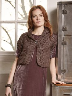 Nutmeg - Knit this stocking stitch and lace hole cardigan from the Autumn Accessories Collection, a design by Marie Wallin using the stunning yarn Big Wool Silk (wool and silk). With wide collar, cap sleeves and lace hole detail, this knitting pattern is for the intermediate knitter.