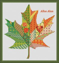 Cross Stitch Pattern Maple leaf patchwork fantasy  Canada Counted Cross Stitch Pattern/Instant Download Epattern PDF File