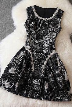 Printed Beaded Sleeveless Dress