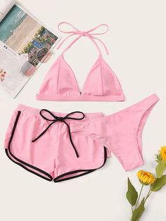 Halter Top With Cheeky Bikini Set & Shorts for Sale Australia Halter Tops, Halter Top Swimsuits, Cute Swimsuits, Halter Bikini, Bikini Swimwear, Rosa Bikini, Pink Bikini, Bikini Set, Cheeky Bikini