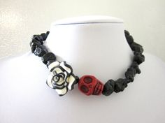 Sugar Skull Necklace Day of the Dead Red Black by sweetie2sweetie, $29.99