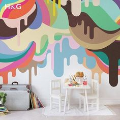 Kids' Room Ideas: Creating a Mural from Wallpaper Ice Cream Painting, Drip Painting, Graffiti Wall, Wall Murals, Kids Bedroom Wallpaper, Teen Bedroom, Wallpaper Ideas, Walls Ice Cream, Bright Nursery