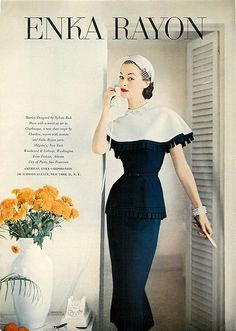 Sylvan Rich Dress in Enka Rayon 1953 - Stunning Collar