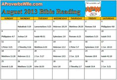 FREE Printable August 2013 Bible Reading Plan |1 Verse a Day - A Proverbs Wife