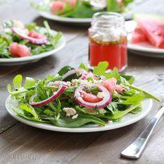 arugula salad salad with watermelon vinaigrette ... sounds interesting.