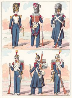French; Imperial Guard, Grenadiers(Top) & Voltigeurs(Bottom), 1854 from Hector Large's Le Costume Militaire Vol III