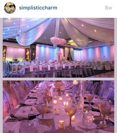 #wedding#event#drapery#hanging florals #drapery #simplistic charm#timeless #elegance #elegant #simplicity #chandeliers www.SimplisticCharm.com #chair designs #chair covers #chargers #chiavari #lace #white #silver #champagne #chuppa #glitz #bling