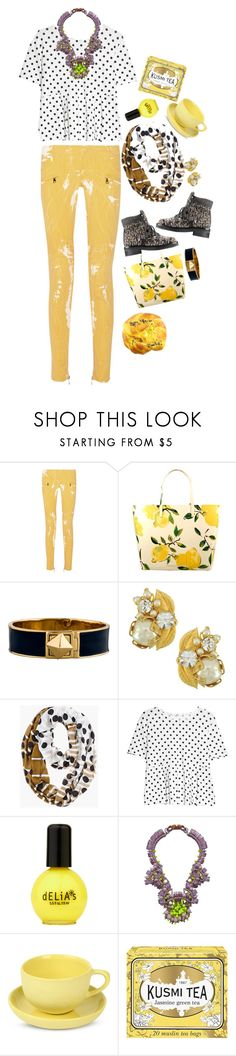"""Lemon Dots"" by crazysupernatural ❤ liked on Polyvore featuring Balmain, Kate Spade, Chanel, Miriam Haskell, Chico's, MANGO, Kirsty Ward, Mud Australia and Kusmi Tea"