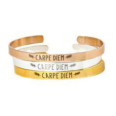 10pcs/lot Stainless Steel Letter Feather Charm CARPE DIEM Bracelets & Bangles Women Men Jewelry Friendship Gift Gold Pulseira