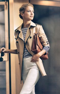 Classic style // piped trim trench coat + striped tee + white trousers + cognac…