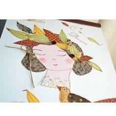 Illustration Lola  A3 art textile affiche par EphemereCollection