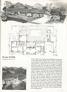 Home Design Drawings Vintage House Plans, 2000 square foot homes, mid century homes Mountain House Plans, Ranch House Plans, House Floor Plans, Vintage House Plans, Modern House Plans, Modern Houses, Mcm House, Architectural House Plans, Home Planner