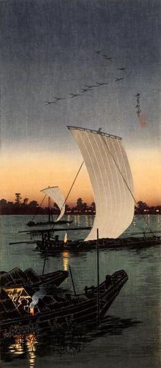 Sekiyado せきやど, 1932, 高橋松亭  Takahashi Shôtei. color woodblock -