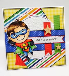 Boys birthday card made using digistamp from Pink Cat Studio