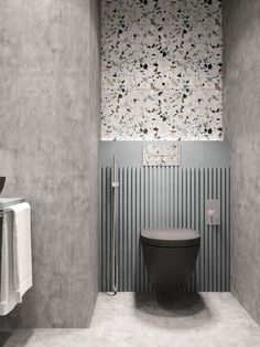 This terrazzo and concrete bathroom designed by Nika Buzko is wild! I just love how the colored speckles of the terrazzo tiles add character in this small space. Quite frankly, I am very intrigued to Minimalist Bathroom Design, Interior Design Minimalist, Modern Bathroom, Neutral Bathroom, Interior Modern, Modern Minimalist, Modern Toilet Design, Navy Bathroom, Silver Bathroom