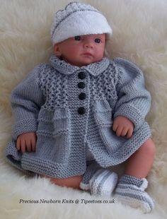 fb1f77311fd1 Baby Knitting Pattern - Download PDF Knitting Pattern - Baby Boys - Reborn  Dolls Sweater Set, Coat, Hat & Shoes - Precious Newborn Knits