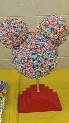 Mickey Mouse Clubhouse Birthday Party Dum Dum Decoration: Made this for my sons birthday party. It's heavy and took WAY more suckers than I had imagined. Mickey 1st Birthdays, Mickey Mouse Clubhouse Birthday Party, Mickey Mouse 1st Birthday, Mickey Mouse Parties, Mickey Mouse Birthday Decorations, Mickey Mouse Snacks, Mickey Mouse Pinata, Mickey Mouse Party Decorations, Mickey Mouse Wedding