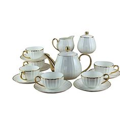 Jomop Vintage Tea Set Ceramic White (White) *** You can find more details by visiting the image link. (This is an affiliate link)