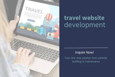 We build user-friendly and responsive websites for all types of travel businesses at the best cost. We deliver travel websites from static to dynamic, custom & mobile friendly websites. Consult now, let's get in touch. #Travel #WebDesign #WebDevelopment Building A Website, Business Travel, Web Development, Portal, Web Design, Touch, Technology, Tech, Design Web
