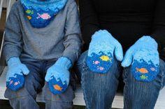 Fish in the Sea Mitten Knitting Kit