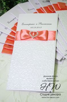 hand made  wedding invitation with a rhinestones brooch