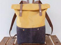 Leather and Canvas backpack roll top, yellow