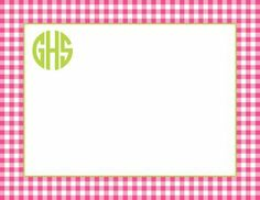 Gingham raspberry flat note card - at PaperFancy.com