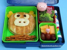 Bento School Lunches: Piggy Bagel Bento. #Laptoplunches  #lunchbox