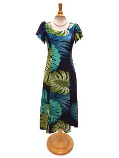 Hilo Hattie Hilo Hattie Monstera Palm Fronds Navy Rayon Hawaiian Tulip Sleeve Dress