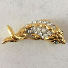 Gold plated FISH shape pin brooch with rhinestones Lot 156