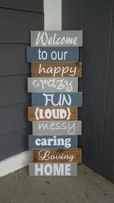 Home Decoration - Rustic Front Porch Decor/Crazy Fun Family Sign/Outdoor Fall Decor/Front Porch Si. Front Porch Signs, Front Porches, Front Porch Decorations, Diy Front Porch Ideas, Garden Decorations, Diy Outdoor Decorations, Welcome Porch Signs, Fromt Porch Ideas, Outdoor Welcome Sign