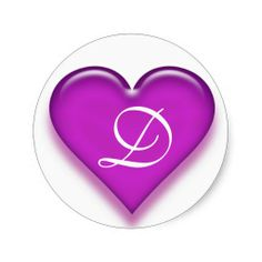 Letter D Monogrammed Juicy Heart Sticker - Purple from Zazzle. Letter C, 26 Letters, Letters And Numbers, Alphabet Letters, Name Pictures, Alphabet Stencils, Decorated Water Bottles, Blue Glitter, Happy Mothers Day
