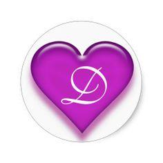 Letter D Monogrammed Juicy Heart Sticker - Purple from Zazzle.