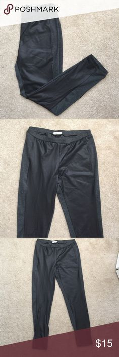 Faux Leather/Cotton Leggings Super trendy faux leather leggings. Leather on front of legs, with cotton on back. Size L, (6/8). Pants Leggings