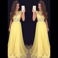 Ulass 2016 Tulle Yellow Prom Dresses Long Cheap vestido longo branco Lace Bodice Dress Homecoming
