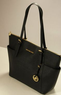 b84cbcbd3c88 Michael Kors Black Saffiano Leather Jet Set E/W Top Zip Tote Bag # MichaelKors
