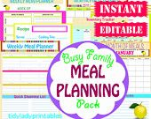INSTANT Download - Menu Planner Printables -  Meal Planning Organization - Home Management Binder - 29 Docuements