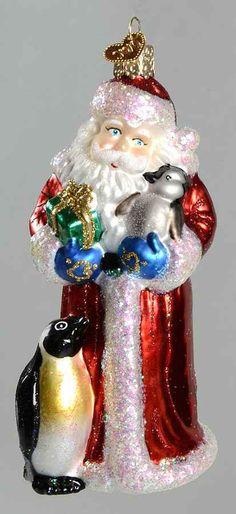 Merck Family's OLD WORLD CHRISTMAS ORNAMENT Santa With Penguin Pals 9995084