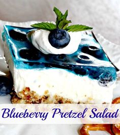 Blueberry Pretzel Salad - A variation of the raspberry pretzel salad we had in Northern Wisconsin. If all salads were like this, my kids would eat it every day! But, I'll be honest. It really is more of a dessert.
