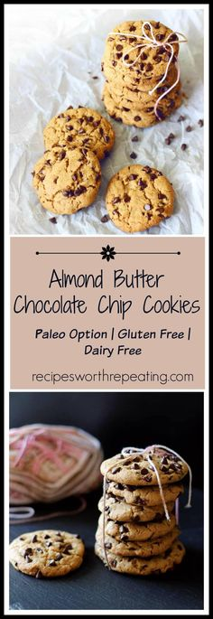 Finally....a cookie I can eat and not feel guilty about! This cookie has a lot of flexibility. These Almond Butter Chocolate Chip Cookies are dairy free and can be made gluten free! You can even make a paleo version. Heck - I'm even going to tell you how to make a VEGAN version of this cookie! Full of flavor and not overly sweet, these little lovelies are pretty darn good for being healthy!
