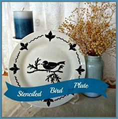 Decorative plate stenciled using sharpie paint marker.