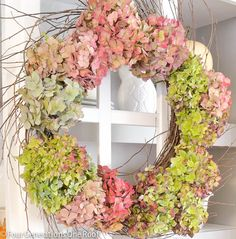 How to make a wreath {hydrangea}