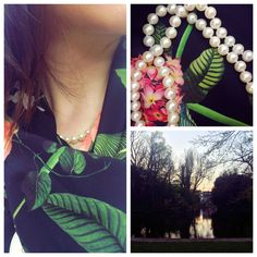 How to wear a pearl necklace: styles for spring Ted Baker, Pearl Necklace, Pearls, Spring, Green, Earrings, How To Wear, Jewelry, Style